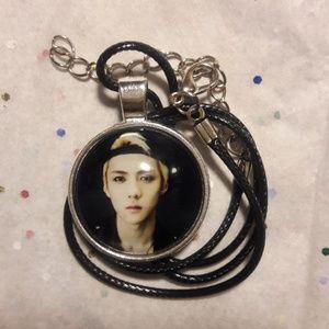 Kpop EXO SeHun Silver Pendant Necklace
